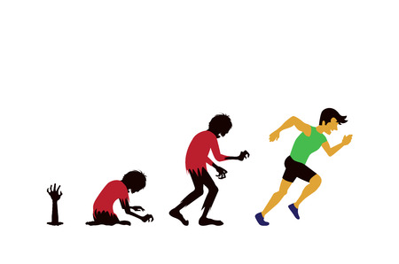 Zombie evolution into man by running Illustration