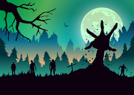 Silhouette Zombie arm reaching out from ground in a full moon night. Ideal for nightclub poster green theme. Illustration
