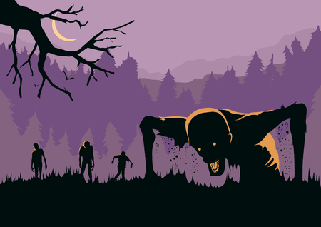 Silhouette of Zombies horde resurrected out of the ground. Illustration about Halloween concept. Illustration