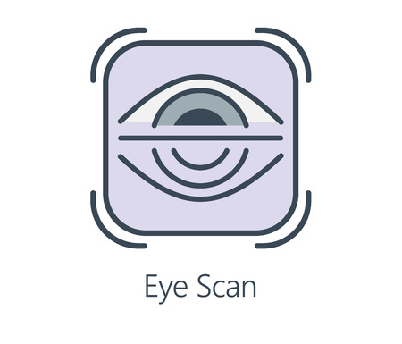 Icon design eye scan in flat line style. Symbol about health check and medical concept.