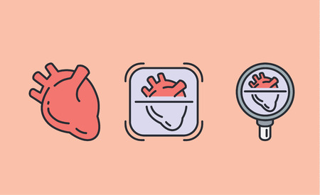 3 heart icon with Magnifying glass. Illustration about medical check concept and internal organ