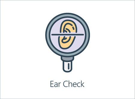 Magnifying glass looking human Ear. Illustration Icon about health check up for diagnose disease.