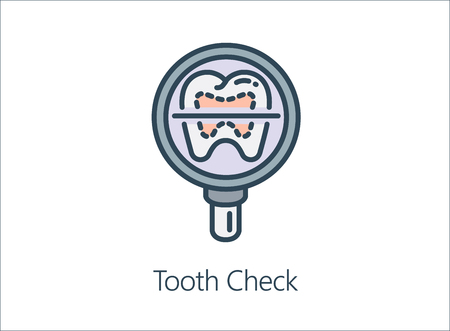 oral cancer: Magnifying glass looking human Tooth. Illustration Icon about health check up for diagnose disease.