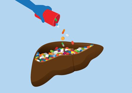 Hand put many drug into human liver. Illustration about danger of taking medicine overdose.