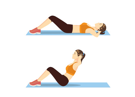 Woman who was fat doing sit up on mat. Illustration about correct exercise posture. Çizim