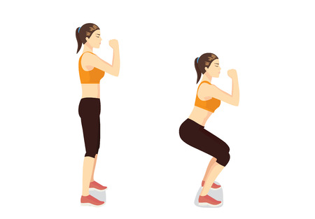 Correct step to doing workout with squat posture. Woman get perfect butt and legs with exercise.
