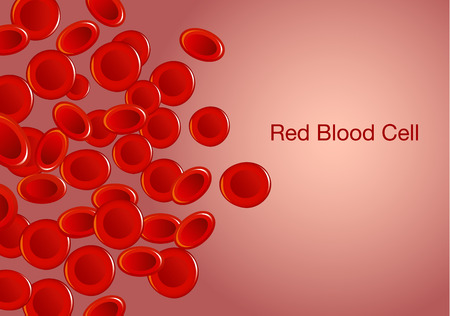 Red blood cells and wording on background. Illustration about health and medical. Illustration