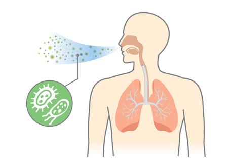 Bacterias y hongos en la respiración del ser humano por respirar. Ilustración sobre la contaminación del aire.