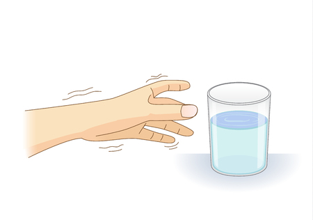 A Hand have tremor symptom reaching out for a glass of water. Illustration about loss of control of balance and body and health problem.