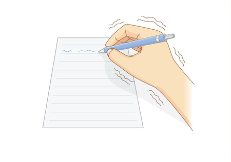 Human hand have tremor symptom while writing