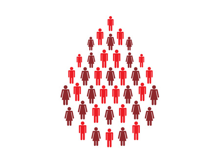 Blood drops symbolic from icon of people gather. Illustration about health care and medical concept.