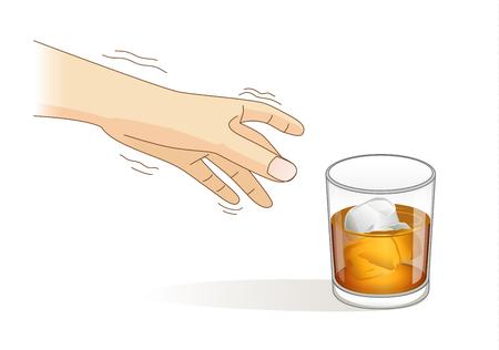 Een hand heeft tremor symptomen tijdens het reiken naar een glas likeur. Stock Illustratie