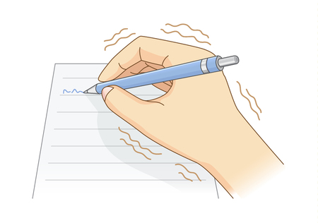 Hand have tremor symptom while writing with a pen.
