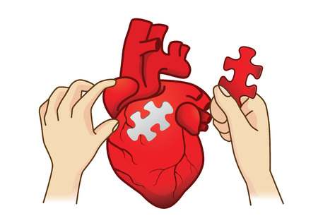 Hand paste the last piece to complete the human heart jigsaw. Conceptual illustration about medical surgery. Illustration