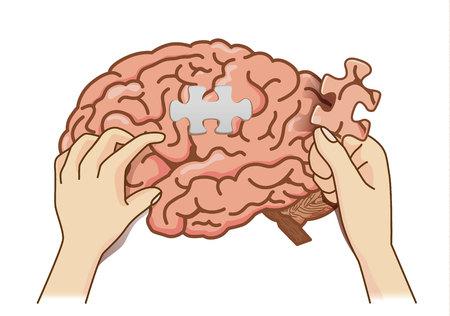 Cole a última peça do quebra-cabeça no canal em branco para completar o quebra-cabeça do cérebro. trem