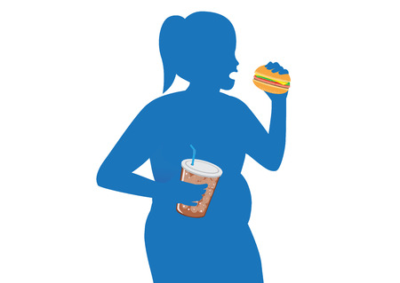 Silhouette of fat woman eating a hamburger and carbonated drink. Illustration about fast food and health.