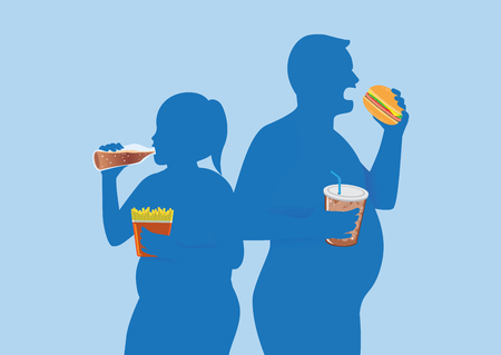 Silhouette of fat people eating fast food. Illustration about keeping body in good shape.