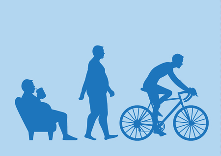 Fat man get out of sofa and change his body to slim shape in 3 step with riding bike. Illustration