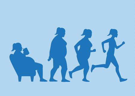 Mujer gorda salir del sofá y cambiar su cuerpo a la forma delgada en 4 pasos con la carrera. Esta ilustración sobre el concepto de ejercicio.