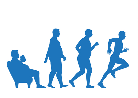 Hombre gordo salir del sofá y cambiar su cuerpo a la forma delgada en 4 pasos con la carrera. Esta ilustración sobre el concepto de ejercicio.