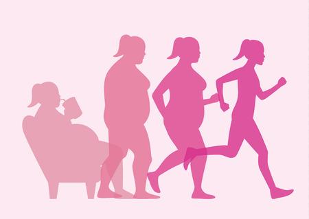 Mulher gorda levantar-se do sofá para perda de peso com jogging. Esta ilustração sobre o conceito de treino.
