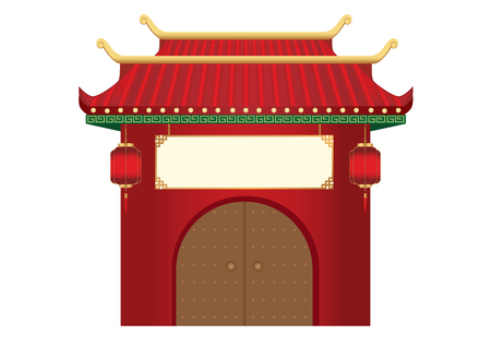The entrance with 2 level roof in Chinese style which decorate with hanging lanterns front of the door. 일러스트