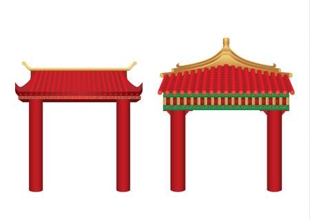 白に隔離された中国風の屋根付き入り口。アジアのゲートアーキテクチャに関する図。