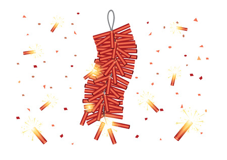 Red Chinese Firecrackers start explosive on white background. vector object about traditional festival of china.