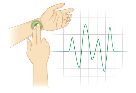 Checking Your Heart Rate Manually with place two fingers at wrist. Illustration about health diagnose.