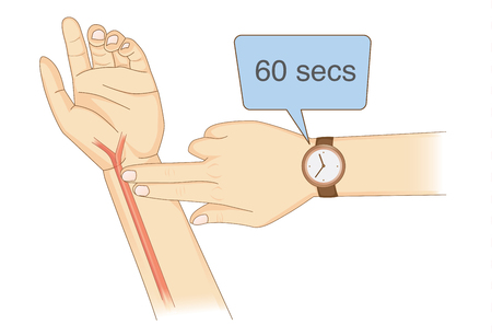 Checking Your Heart Rate Manually with place two fingers and wristwatch. Illustration about health diagnose.