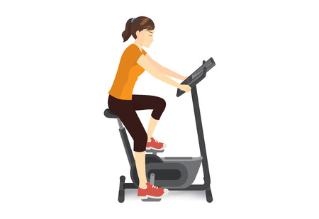 Woman doing exercise with stationary bicycle for firming her body. Illustration about workout machine. Illustration