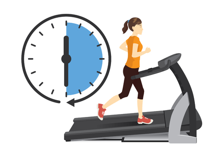 Woman running on electric treadmill with clock icon isolated on white. Stock Illustratie