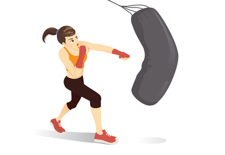 Woman tried a cardio boxing workout with hit a heavy bag. Illustration about build lean muscle with exercise.