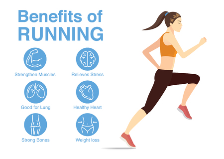 Healthy woman in run posture with data of health benefits of this workout.