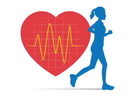 Silhouette of Woman jogging in sportswear and line of pulse during a workout. Illustration about heart rate while exercise.