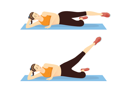 Mujer haciendo elevaciones de pierna estirada hacia el exterior. Ilustración sobre el paso del entrenamiento del muslo.