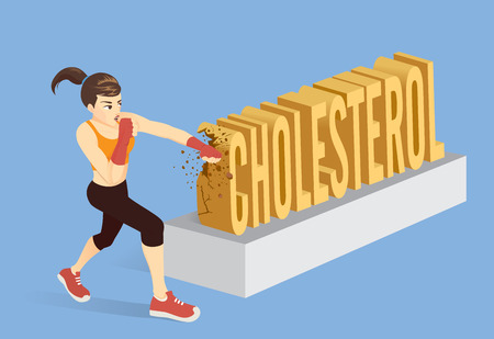 Healthy woman breaking the word Cholesterol with punching. Conceptual illustration about workout for reduce cholesterol. Banco de Imagens - 103062651