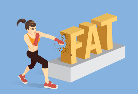 Healthy woman breaking the word fat with punching. Conceptual illustration about workout for reduce fat.