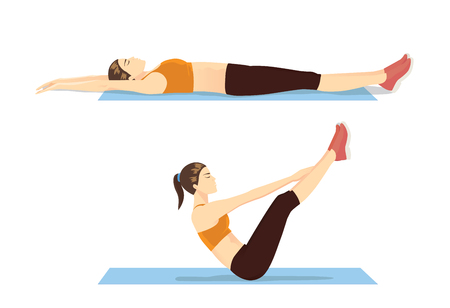 Mujer mostrando paso de entrenamiento abdominal con ejercicio v-ups. Ilustración sobre movimientos correctos para fitness. Ilustración de vector