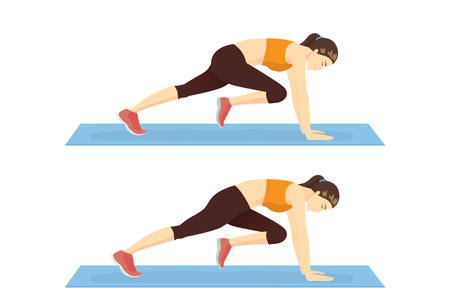 Step of doing the Mountain climber exercise by healthy woman. Illustration about exercise guide.