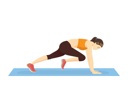 Healthy woman doing the Mountain climber exercise. Illustration about Bodyweight workout.  イラスト・ベクター素材