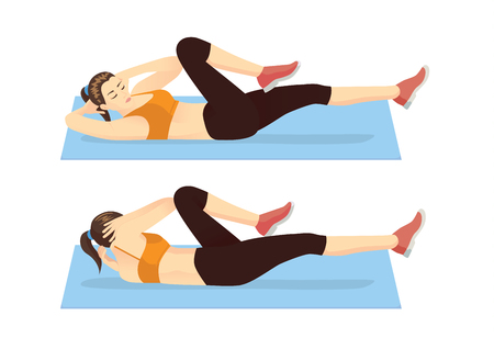 Woman doing abdominal workout with Bicycle crunch. Illustration about exercise guide.