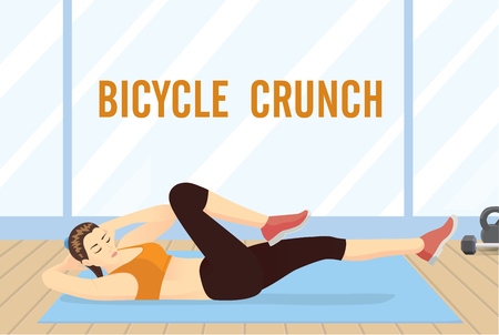 Woman doing abdominal workout with Bicycle crunch for flat tummy at gym.