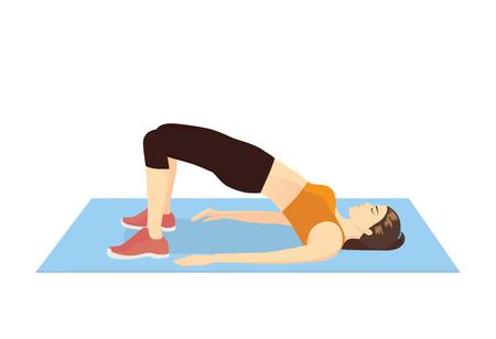 Mujer haciendo ejercicio con Hip lift para reafirmar su cuerpo. Ilustración sobre entrenamiento de glúteos.