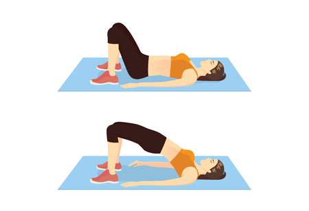 Mujer haciendo ejercicio con elevación de cadera para reafirmar su cuerpo. Ilustración sobre el paso del ejercicio de glúteos. Ilustración de vector