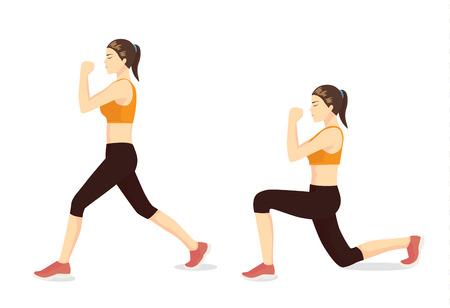 Guía de ejercicios ilustrada por una mujer sana que hace ejercicios de estocadas en 2 pasos para reafirmar las piernas. Ilustración de vector