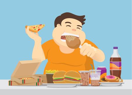 뚱뚱한 남자는 테이블에 많은 패스트 푸드를 즐깁니다. 과식에 대한 그림.