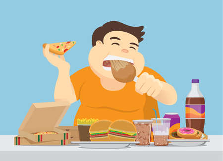 Fat man enjoy with a lot of fast food on the table. Illustration about overeating. Stockfoto - 104149468