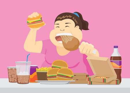 Mujer gorda disfruta con mucha comida rápida en la mesa. Ilustración sobre comer en exceso. Ilustración de vector