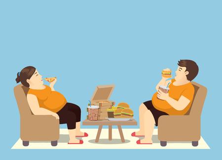 Hombre gordo comiendo en exceso con mucha comida rápida en la mesa. Ilustración sobre atracones.